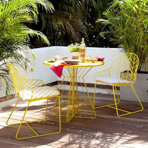 Chic-Parisian-Inspired-Balcony-Dining-Outdoor-Yellow-Metal-Furniture
