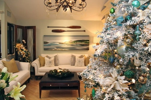 Christmas Decorations with Beach theme transitional living room home  decorating ideas