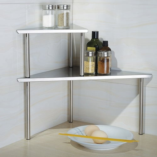 Cook-N-Home-2-Tier-Contemporary-Stainless-Steel-Corner-Storage-Shelf