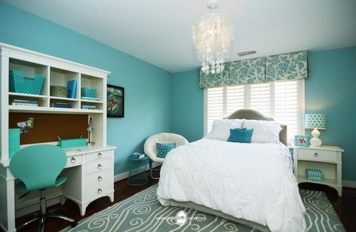 Aqua-Girls-Bedroom-Wall-Colors-Teenage-Room-Home-Design-Photos