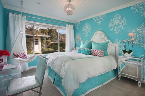 innovative blue white bedroom ideas teenage girls | Blue and White Bedroom Wall Color Schemes Ideas - Home ...
