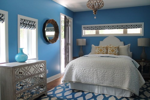Blue and white bedroom wall color schemes ideas home - Blue bedroom paint ideas ...