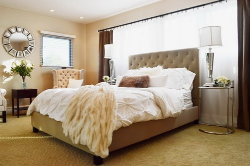 Contemporary-Neutral-Bedroom-Wall-Paint-Colors-With-Tufted-Bed-Chairs-And-Mirrored-Furniture