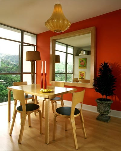 contemporary dining room orange wall colors feng shui layout furniture