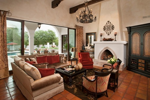 Spanish-Colonial-Remodel-mediterranean-living-room-with-fireplace-ideas