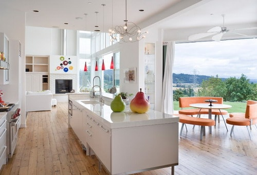 White Cabinets Ecofriendly Contemporary Kitchen by Alan Mascord Design Associates Inc
