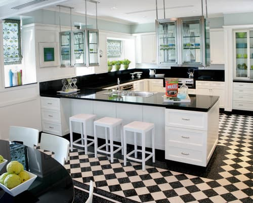 White-cabinets-black-countertop-traditional-kitchen-layouts-with-peninsula-ideas