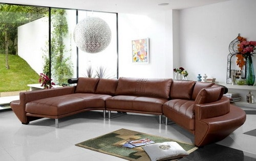 Living Room with Brown Leather Sofa