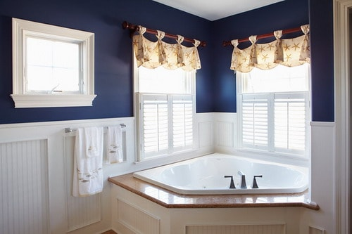 Easy Tips To Help You Decorating Navy Blue Bathroom Home