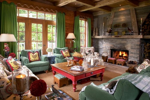 Cottage-Chalet-Green-Themed-Decor-Rustic-Living-Room-Design-Ideas