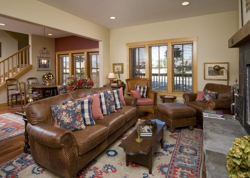 captivating country living rooms brown couches | How to Design a Living Room with Brown Leather Sofa - Home ...