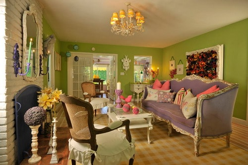 wall colors eclectic living room colorful cottage style home interior