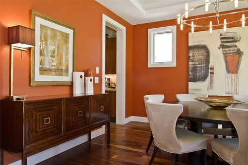 Orange-wall-colors-contemporary-dining-room-paint-color-schemes-decor-ideas
