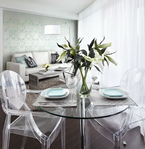 Small-Apartments-Big-Style-Contemporary-Living-Dining-Room-Ghost-Chair-Sets-toronto-by-Lisa-Petrole-Photography
