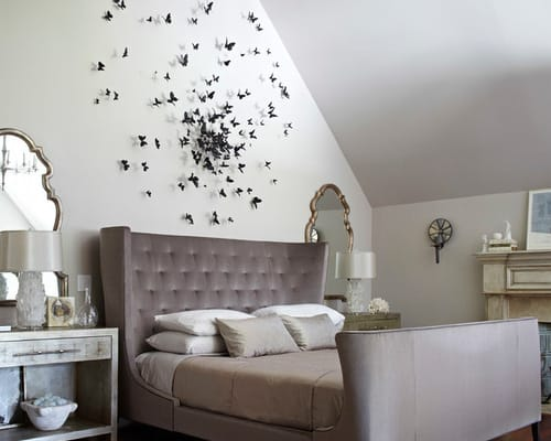 Butterfly-wall-decor-transitional-bedroom-art-ideas