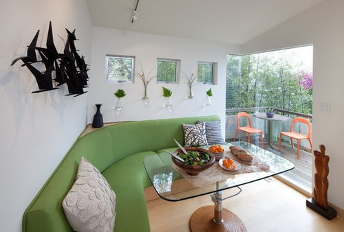Green-sofa-contemporary-dining-room-and-balcony-decor-ideas