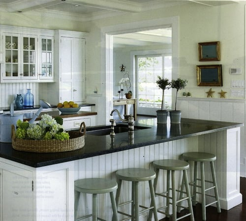 White Kitchen Cabinets Design: 10 Steps Trimming Kitchen Peninsulas With Beadboard