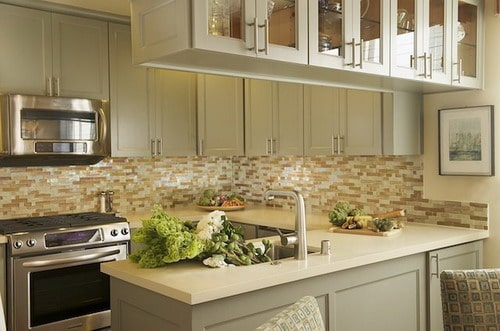white kitchen green backsplash step by steps installing kitchen peninsula cabinets home 298