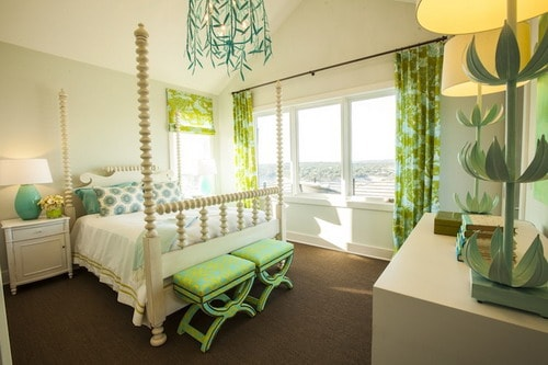 Turquoise and green girl's bedroom with Stray Dog Designs Willow Chandelier over cream four poster bed