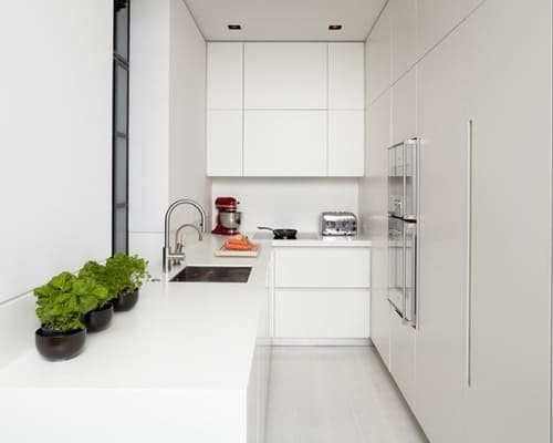 Modern Small Kitchen Design with Cherry Wood Cabinets