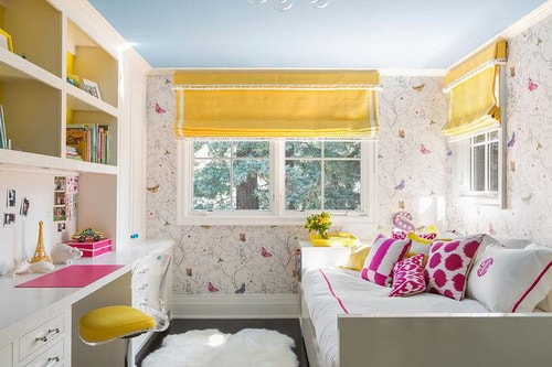Beautiful bedroom for kids girls with queen size bed - New york girls room ...