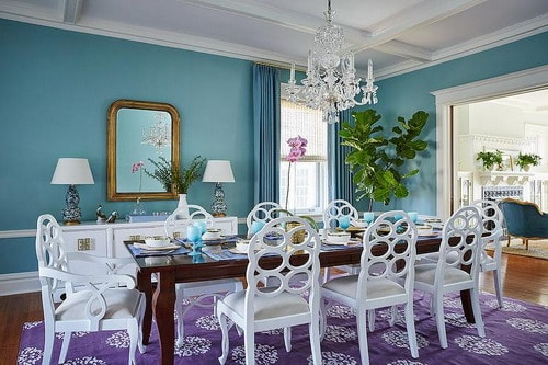 Turquoise-and-purple-dining-room-wall-color-schemes-purple-madeline-weinrib-mandala-tibetan-rug