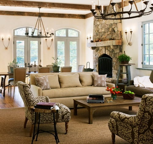 New Country French Cottage mediterranean family room furniture and decoration ideas