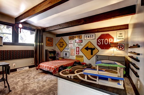 boys transportation themed bedroom midcentury kids