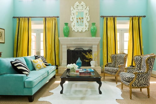 accent-wall-paint-yellow-curtain-colorful-eclectic-living-rtoom-colors-design