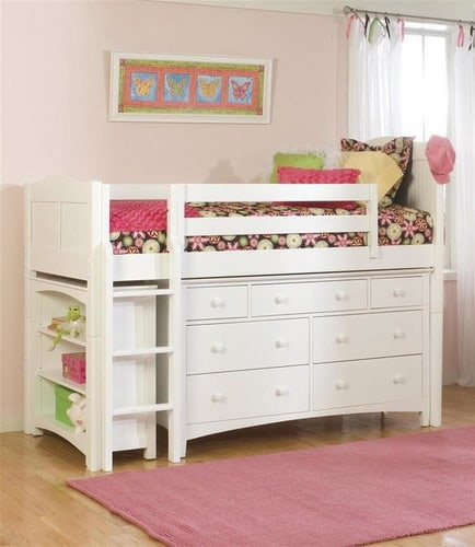 Essex Cottage Low Twin Loft Bed with Dresser and Bookcase in White Finish contemporary kids room furniture
