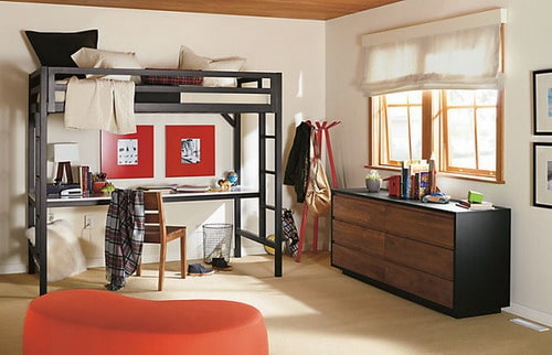 Full Size Lark Loft Bed with Dresser in Natural Steel by R&B contemporary kids room ideas