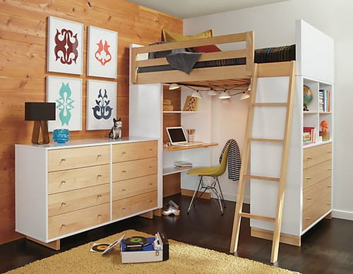 Full Size Moda Loft Bed with Desk and Dresser by R&B modern kids bedroom furniture ideas