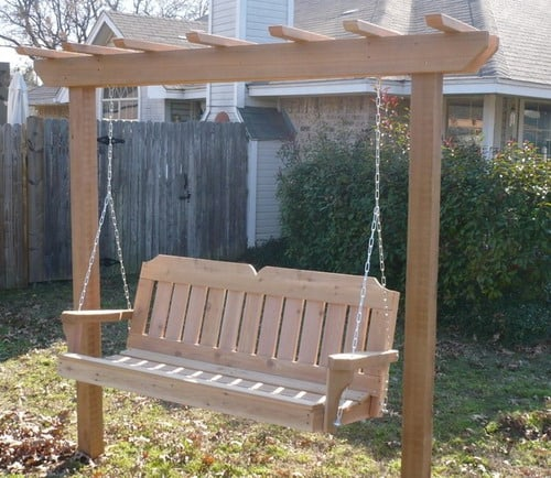 garrden-arbor-swing-with-victorian-cedar-porch-swing-traditional-backyard-porch-swings