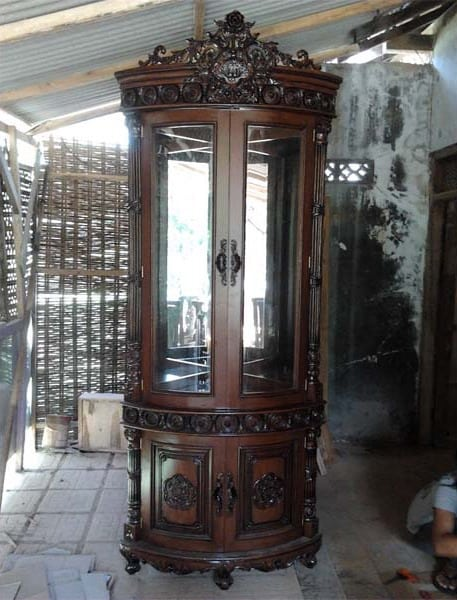 Cheap Rose Carved Teak Corner Cabinets