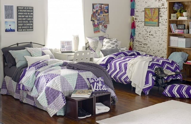 teenage-girls-alluring-wooden-open-shelving-and-comfort-pillows-with-laminate-wood-floor-dorm-room-designs