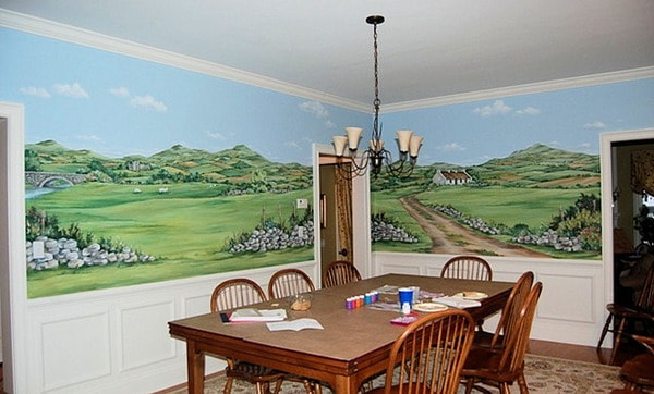 hand-painted-mural-of-ireland-traditional-dining-room-wall-decor
