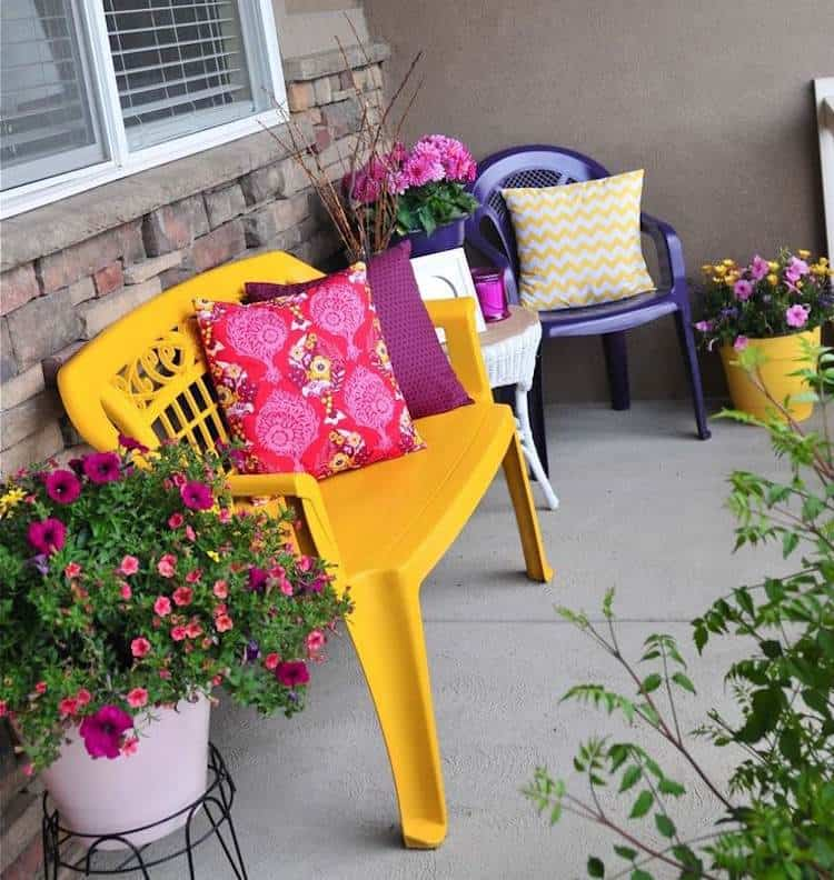 yellow-bench-and-blue-chair-plastic-garden-furniture