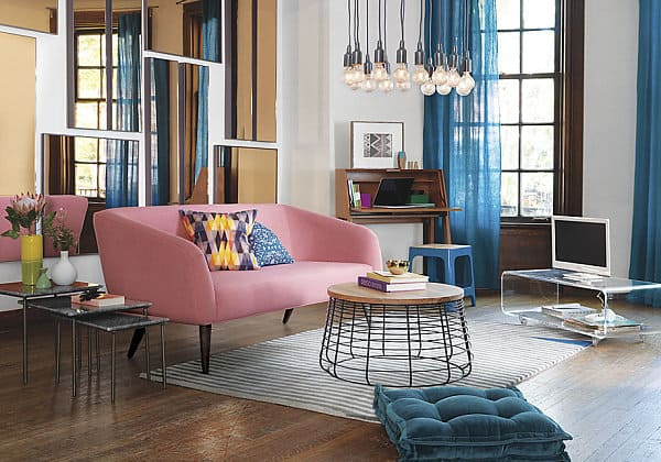 Colorful modern living room interior decorating designs