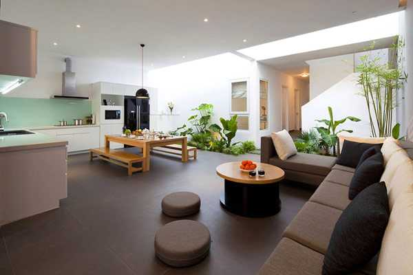 Modern house interior design with indoor plants