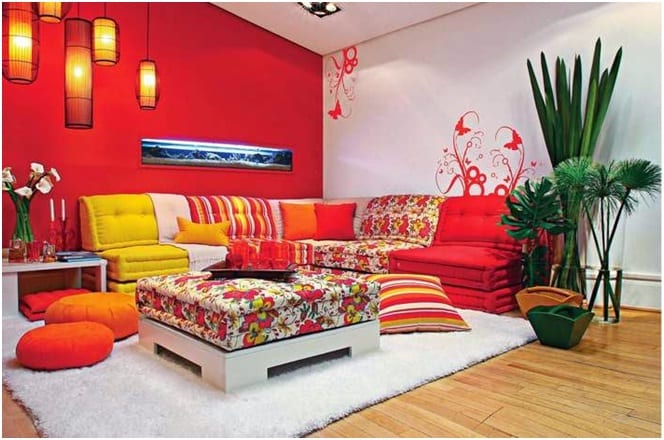 Chill out red wall paint colors living room decor