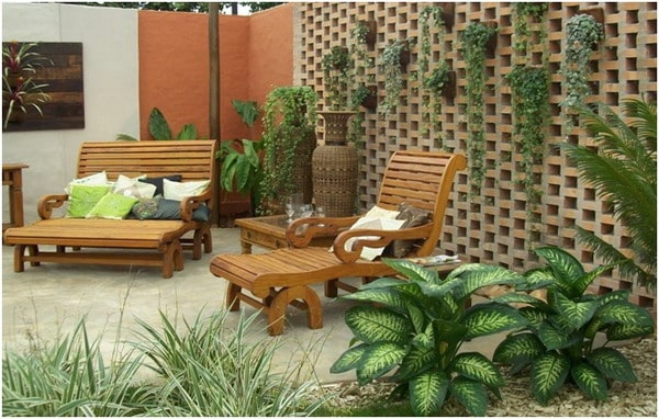 Wooden furniture for rustic garden ideas