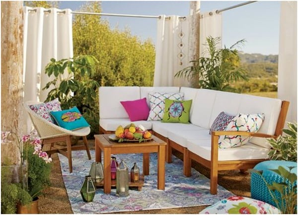 Colorful pillows chillout terrace furniture