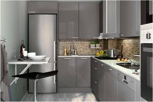 Grey cabinets small kitchen appliances