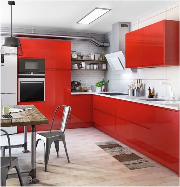 Red cabinets microwave kitchen appliance