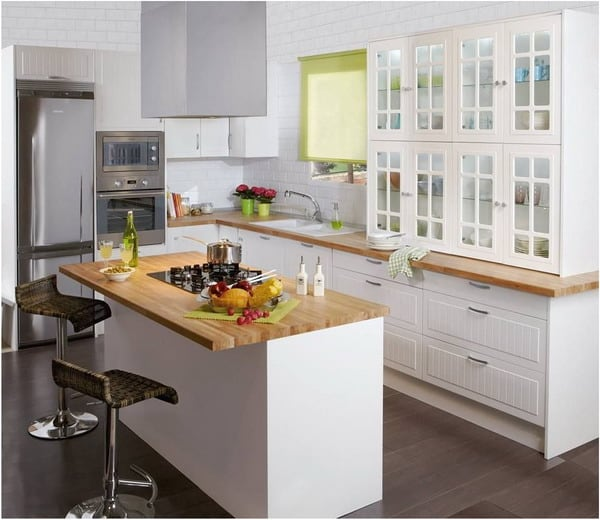 Small white kitchen appliances cabinets design
