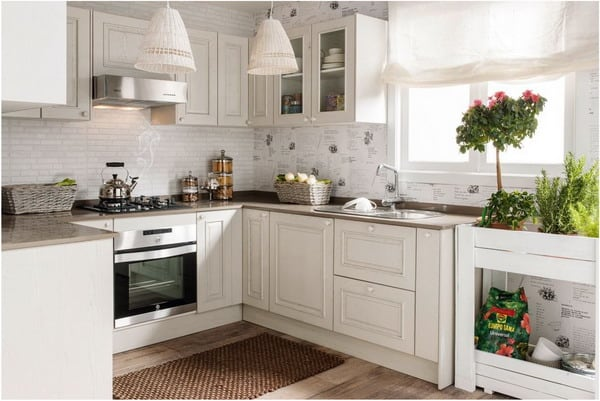 White cabinets small kitchen oven appliance