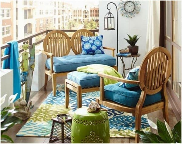 Wooden furniture colorful chillout terrace decor